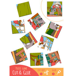 education puzzle game for children two cats vector image