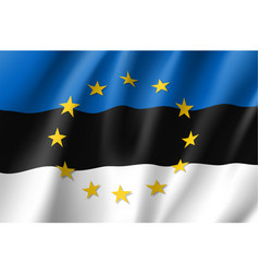 Estonia national flag with a star circle of eu vector