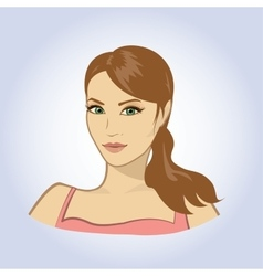 face portrait of beautiful young woman vector image