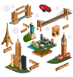 Famous building set vector