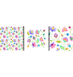 fantasy flowers embroidery print and seamless vector image