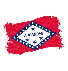 Flag of arkansas grunge abstract brush stroke vector