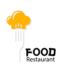 food restaurant logo chef hat fork background vect vector image