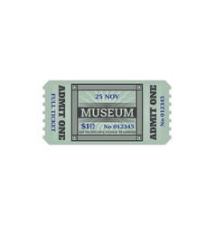 Full entry ticket to history museum isolated card vector