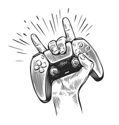 game controller in hand video gamepad sketch vector image