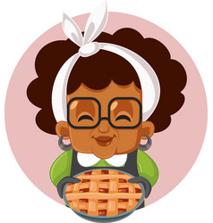 Granny holding a pie cartoon vector