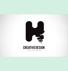 H letter logo design brush paint stroke artistic vector