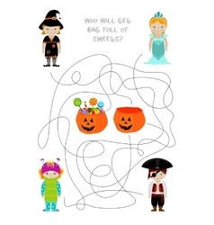 Halloween maze game vector image
