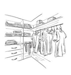 Hand drawn wardrobe sketch vector image