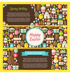 Happy Easter Horizontal Banners Flat Set vector