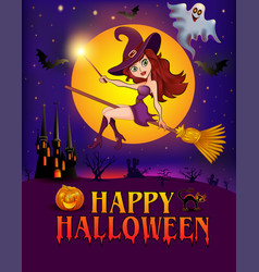 happy halloween halloween flying little witch vector image