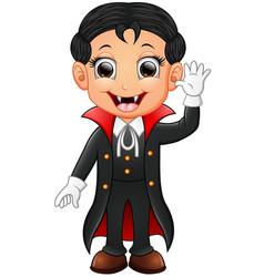 happy kid wearing dracula costume vector image