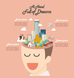 Head full of dreams infographic vector
