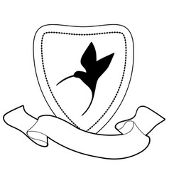 heraldic shield and banner image text hummingbird vector image