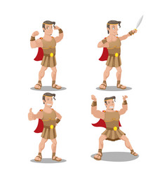 Hercures god hero cartoon character vector