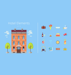 Hotel elements building icons vector