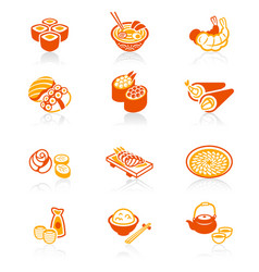 japanese sushi-bar icons - juicy series vector image