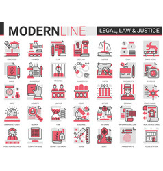Legal law and justice complex concept flat line vector