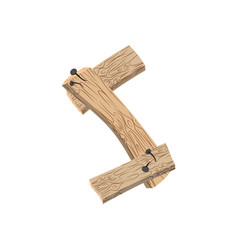 Letter s wood board font plank and nails alphabet vector