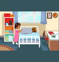 Little girl in her bedroom vector