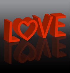 Love 3d text background vector