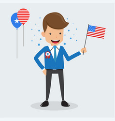 man hand holding american flag memorial day vector image