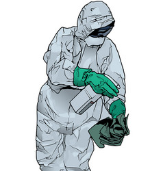 Man in protective suit and protective mask vector