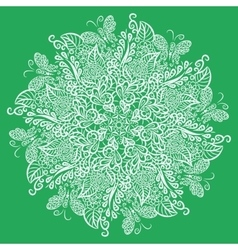 mandala Green background White ornament vector image