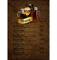 menu design with beer vector image