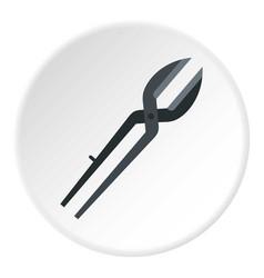 Metal scissors icon circle vector