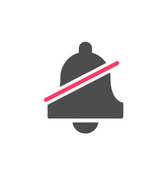Mute glyph icon with bell and silent mode vector