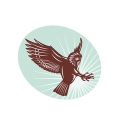 Owl swooping woodcut style vector image
