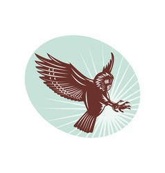 Owl swooping woodcut style vector