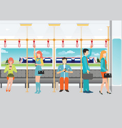 People traveling on the subway vector
