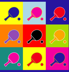ping pong paddle with ball pop-art style vector image