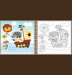 pirate cartoon on sailboat vector image