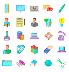 Placement icons set cartoon style vector