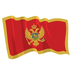 political waving flag of montenegro vector image
