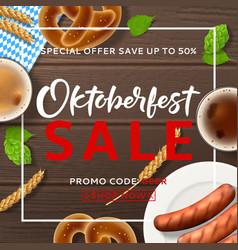 promo background for oktoberfest sale vector image
