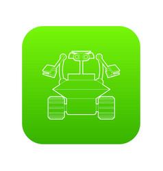 robot collector icon green vector image