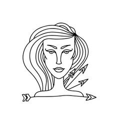 sagittarius girl portrait zodiac sign for adult vector image