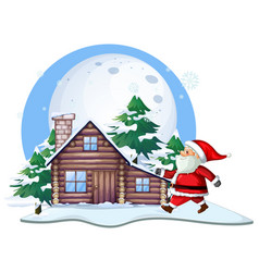 santa in front of cabin house vector image