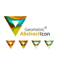 Set of abstract geometric company logo triangles vector