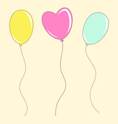 set of colored isolated cute balloons on a beige vector image