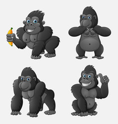 set of gorilla cartoon with different poses and ex vector image