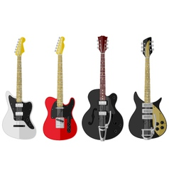 Set of isolated vintage guitars vector image
