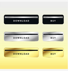 set of premium download and buy metal buttons vector image