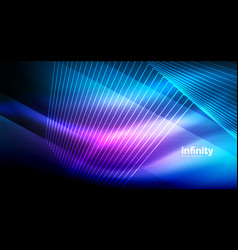 shiny straight lines on dark background techno vector image