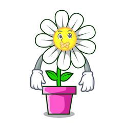 Silent daisy flower mascot cartoon vector