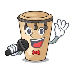Singing conga mascot cartoon style vector